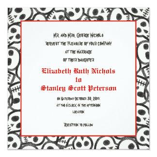 Invitación negra roja del boda de Halloween de los Invitación 13,3 Cm X 13,3cm