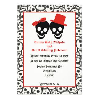 Invitación negra roja del boda de Halloween de los