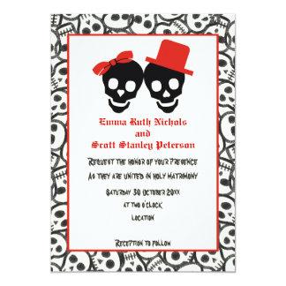 Invitación negra roja del boda de Halloween de los Invitación 12,7 X 17,8 Cm