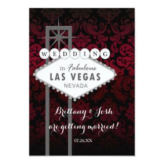 Invitación negra roja del boda del damasco de Las