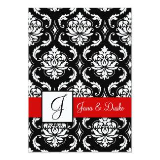 Invitación negra roja del boda del monograma del