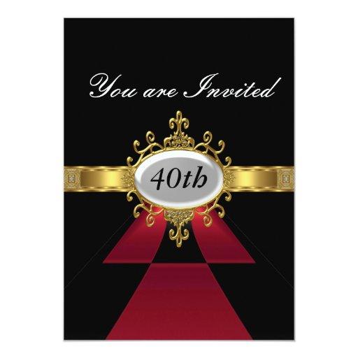 Invitación negra roja del encanto de la fiesta de