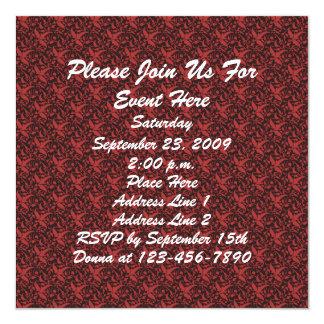 Invitación negra roja elegante del estampado de