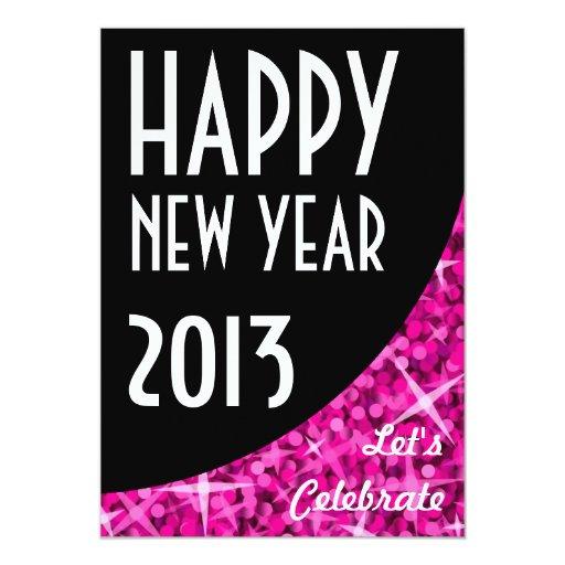"""Invitación negra rosada """"de la Feliz Año Nuevo"""" de"""