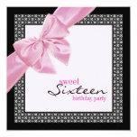 Invitación negra rosada de la fiesta de cumpleaños invitación 13,3 cm x 13,3cm