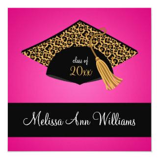 Invitación negra rosada de la graduación del invitación 13,3 cm x 13,3cm