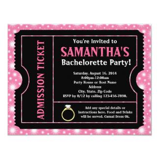 Invitación negra rosada del billete de grupo de