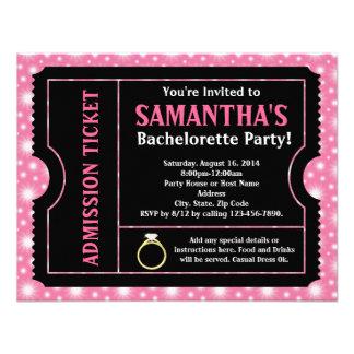Invitación negra rosada del billete de grupo de Ba