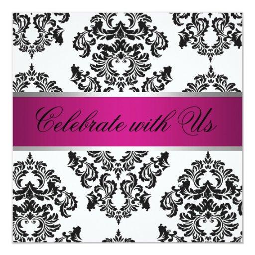 Invitación negra rosada del boda del damasco