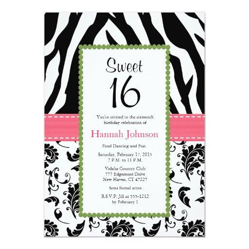 Invitación negra rosada del dulce dieciséis del