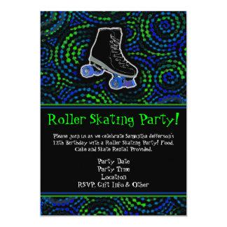 Invitación negra/verde del fiesta del patinaje