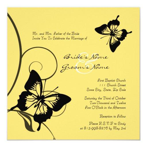 Invitación negra y amarilla del boda de la