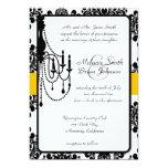 Invitación negra y amarilla del damasco de la invitación 12,7 x 17,8 cm