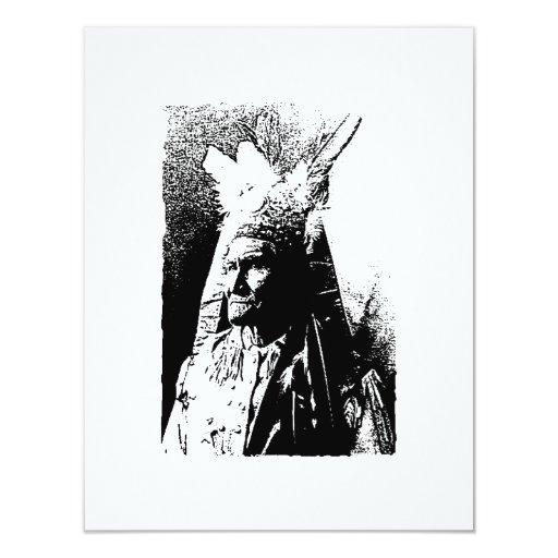 Invitación negra y blanca de Geronimo Invitación 10,8 X 13,9 Cm