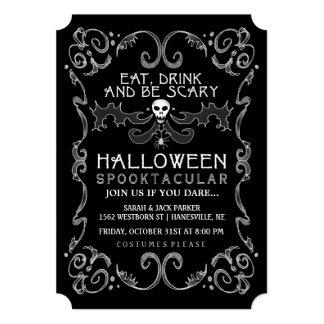 Invitación negra y blanca de Halloween del fiesta
