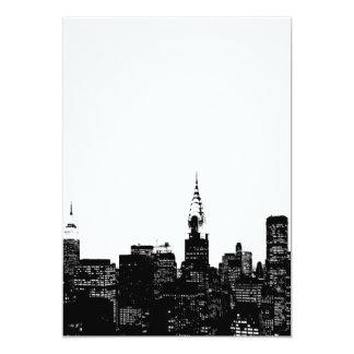 Invitación negra y blanca de Nueva York Invitación 12,7 X 17,8 Cm