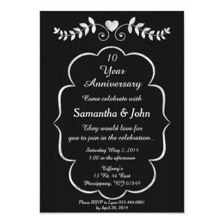 Invitación negra y blanca del aniversario del invitación 12,7 x 17,8 cm