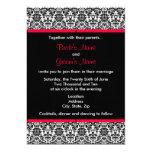 Invitación negra y blanca del boda del damasco