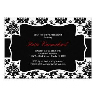 Invitación negra y blanca del damasco