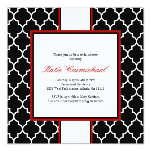 Invitación negra y blanca del smoking, roja