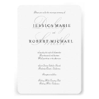 Invitación negra y blanca del tipo elegante del