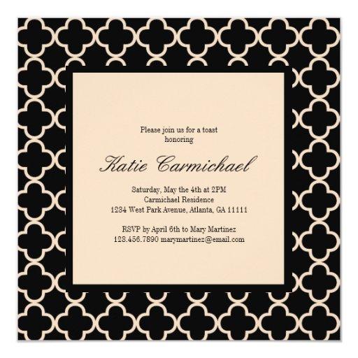 Invitación negra y de marfil invitación 13,3 cm x 13,3cm