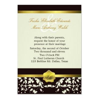 Invitación negra y de marfil del boda del invitación 12,7 x 17,8 cm