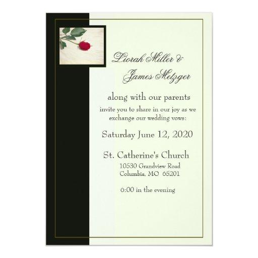 Invitación negra y de marfil elegante del boda