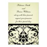 Invitación negra y del moreno preciosa del damasco invitación 12,7 x 17,8 cm