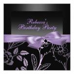 Invitación negra y púrpura del fiesta de la flor invitación 13,3 cm x 13,3cm