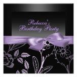 Invitación negra y púrpura del fiesta de la flor d