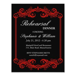Invitación negra y roja de la cena del ensayo del