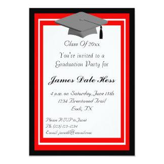 Invitación negra y roja de la fiesta de graduación