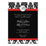 Invitación negra y roja del boda del damasco invitación 12,7 x 17,8 cm