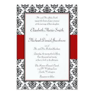 Invitación negra y roja del boda del damasco