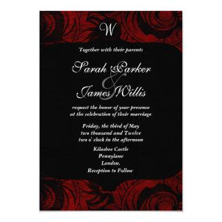 Invitación negra y roja del damasco con el