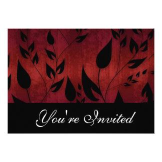 Invitación negra y roja del fiesta de las hojas