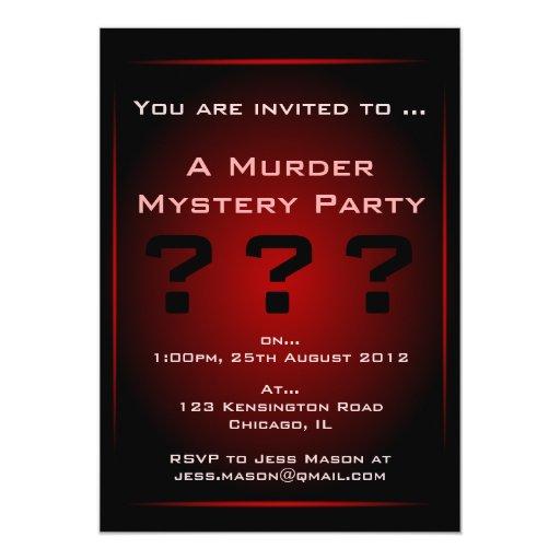 Invitación negra y roja del fiesta del misterioso invitación 12,7 x 17,8 cm
