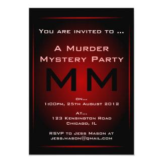 Invitación negra y roja del fiesta del misterioso