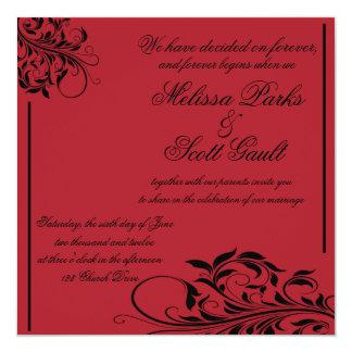 Invitación negra y roja del remolino del vintage
