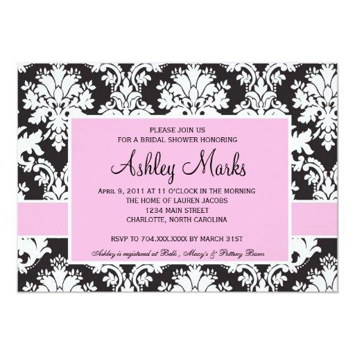 Invitación negra y rosada del damasco invitación 12,7 x 17,8 cm