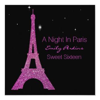 Invitación negra y rosada del dulce dieciséis de