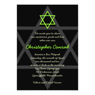 Invitación negra y verde de Mitzvah de la barra
