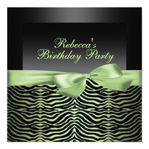 Invitación negra y verde del fiesta de la cebra de