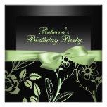 Invitación negra y verde del fiesta de la flor del