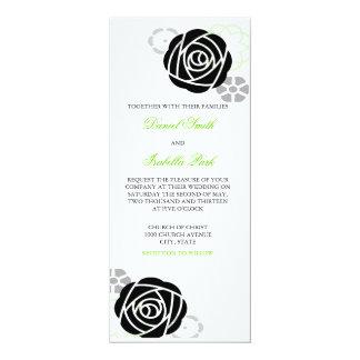 Invitación negra y verde floral 4 x 9 del boda invitación 10,1 x 23,5 cm