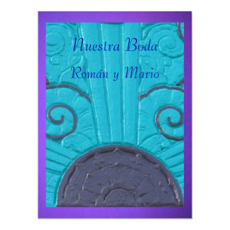 Invitación - Nuestra Boda - Azul y púrpura Card