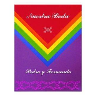 Invitación - Nuestra Boda - Bandera del arcoiris Custom Announcement