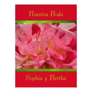 Invitación - Nuestra Boda - Roja, verde y rosa Announcement