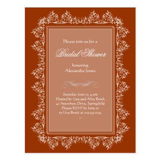 Invitación nupcial afiligranada elegante 3 del postal